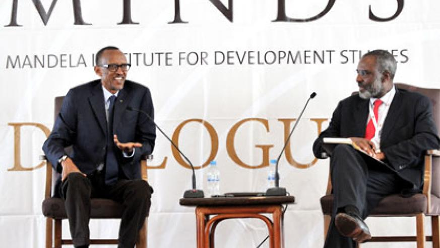 President Kagame with Dr Nkosana Moyo, founder of Mandela Institute for Development Studies (MINDS), during the interactive session with over 100 youth from 43 African countries in Kigali yesterday. Village Urugwiro.