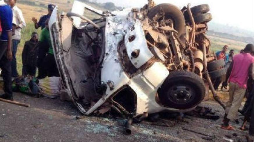 The head-on collision is believed to have been caused by a blind spot on the Kigali-Kagitumba highway. (Courtesy of Kigali Today)