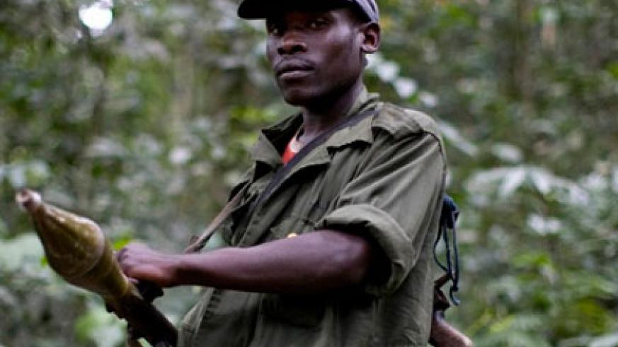 An FDLR fighter in Eastern DR Congo. The militia is blamed for the Genocide in Rwanda. (Internet photo)