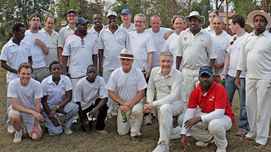 Umubano and Abakambwe team in a group photo taken last year at Kicukiro oval after a game. Courtesy.