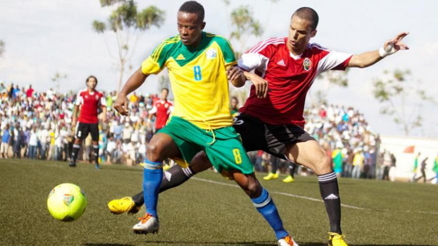 Amavubi captain Haruna Niyonzima, seen here in action against Libya in the previous Afcon qualifying round, is confident of upsetting Congo on August 2. (Timothy Kisambira)