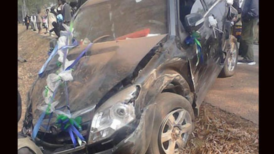 The bridal car that was involved in the accident yesterday. Courtesy.