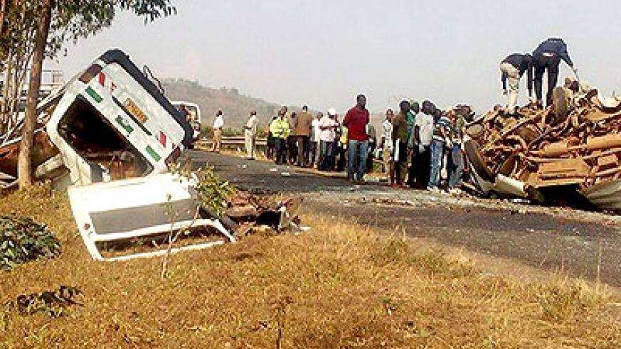 Residents gather at the scene of Gatsibo road accident last week. File
