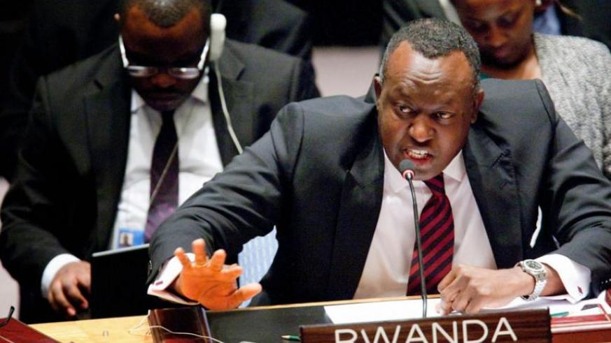 Amb. Gasana speaks during a past Security Council session. Rwanda holds the Council's presidency for the month of July. (Internet photo)
