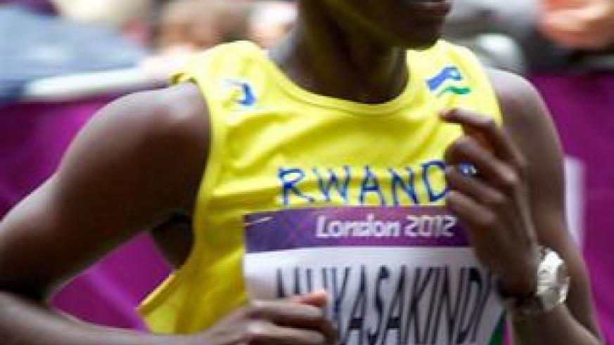 Claudette Mukasakindi seen taking part in London Olympic Games, is expected to compete in the 10000m women finals tonight. Courtesy