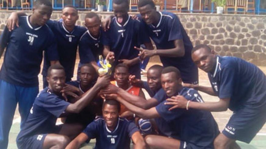 Lycee de Nyanza volleyball team celebrating the title in Musanze on Sunday