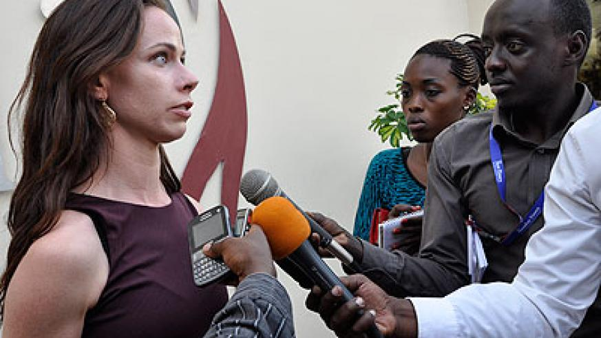Barbara speaks to journalists at Kigali Genocide memorial on Wednesday. Courtesy.