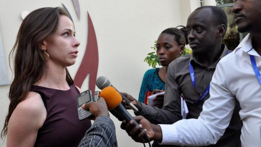 Barbara Bush speaks to journalists at Kigali Genocide memorial on Wednesday. (Courtesy)