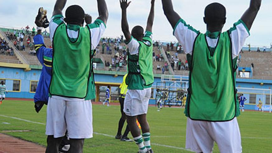 Kiyovu FC players celebrate a win in a past league game. The local league has failed to command home support as many Rwandans resort to European football. File.