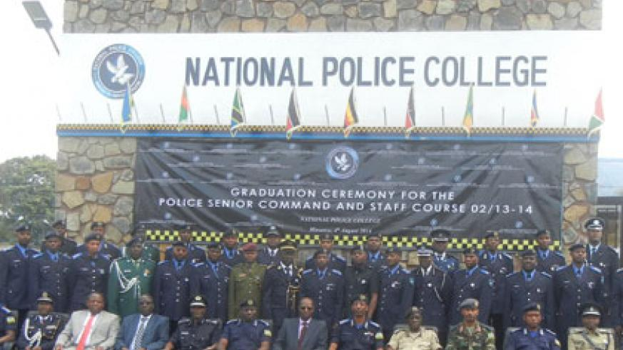 The graduands of the 'Police Command and Staff' course pose for a photo  in Musanze yesterday . Courtesy.