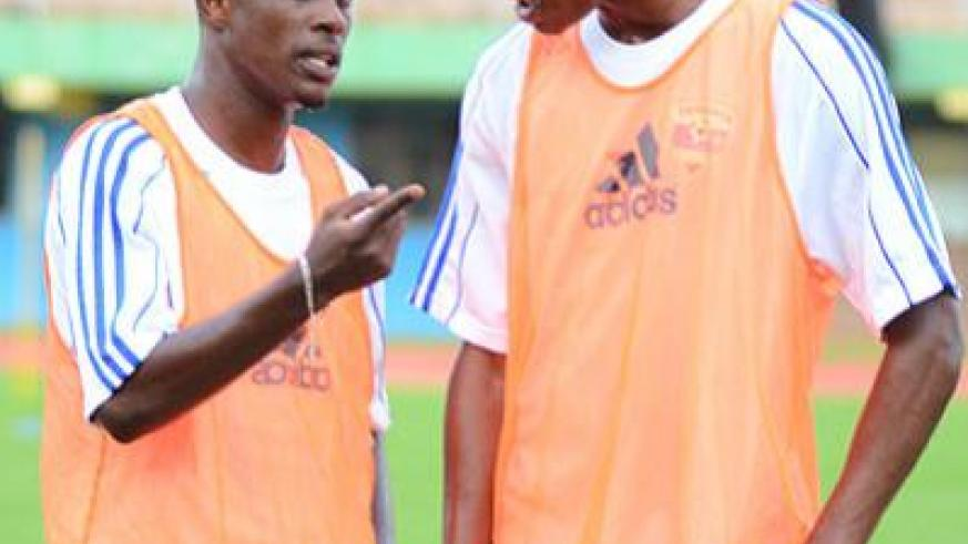 Amavubi captain Haruna Niyonzima, left, and his assistant, Jean Baptiste Mugiraneza, have welcomed the formation of the players' association. T. Kisambira