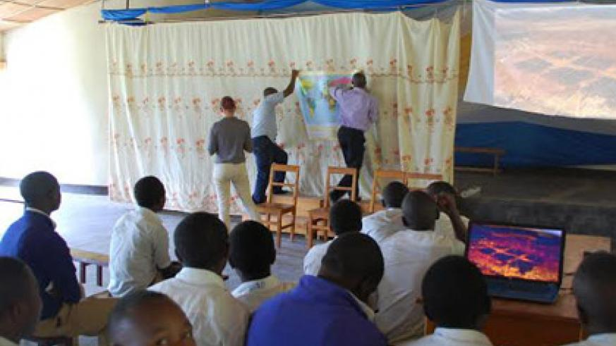 Students of Ecole des Sciences St. Louis de Mont Fort Nyanza during one of the workshops. (Courtesy)