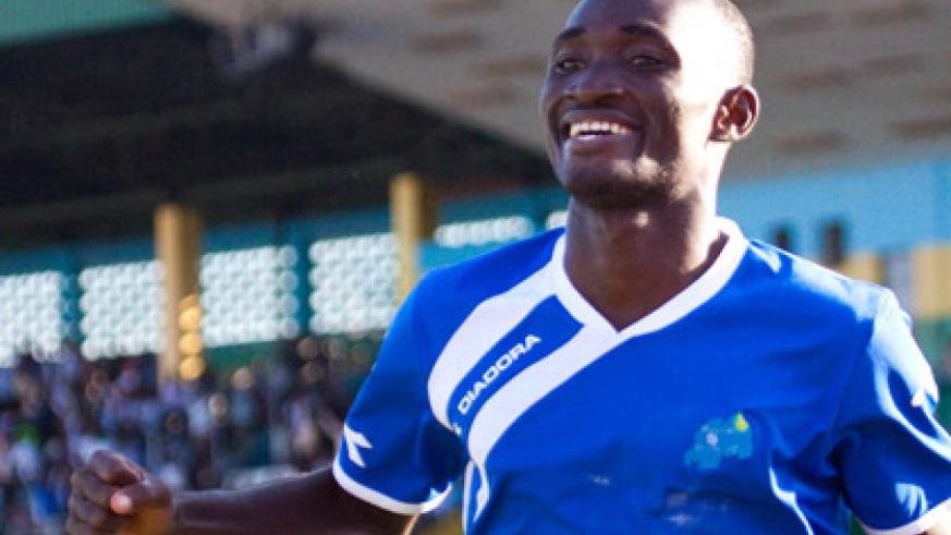 Amissi, seen here celebrating after scoring a goal last season, netted 29 league goals in two seasons with Rayon Sports. (File)