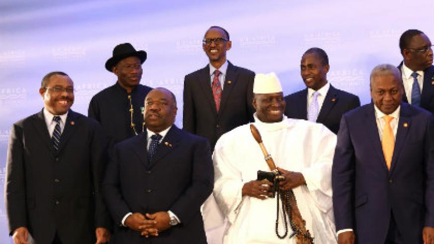 President Kagame (back row, second left) with other African leaders at the US-Africa Leaders Summit in Washington D.C. (Village Urugwiro)