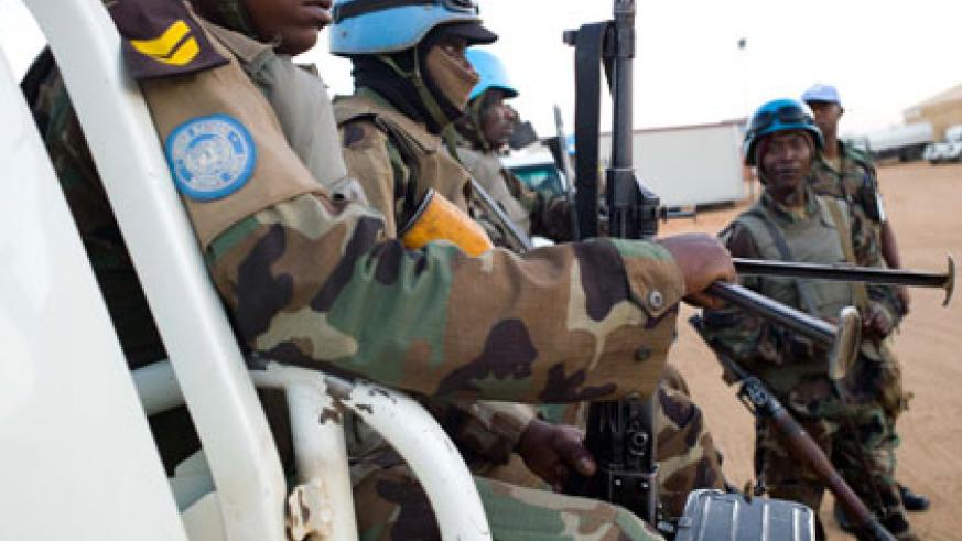 Rwandan peace keepers serving under Unamid patrol streets in the restive Darfur region in Sudan. File.