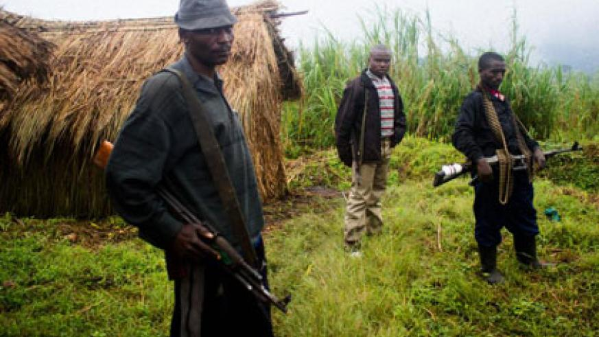 FDLR militiamen in eastern DR Congo. World leaders are at last growing impatient with the militia's persistence. File.