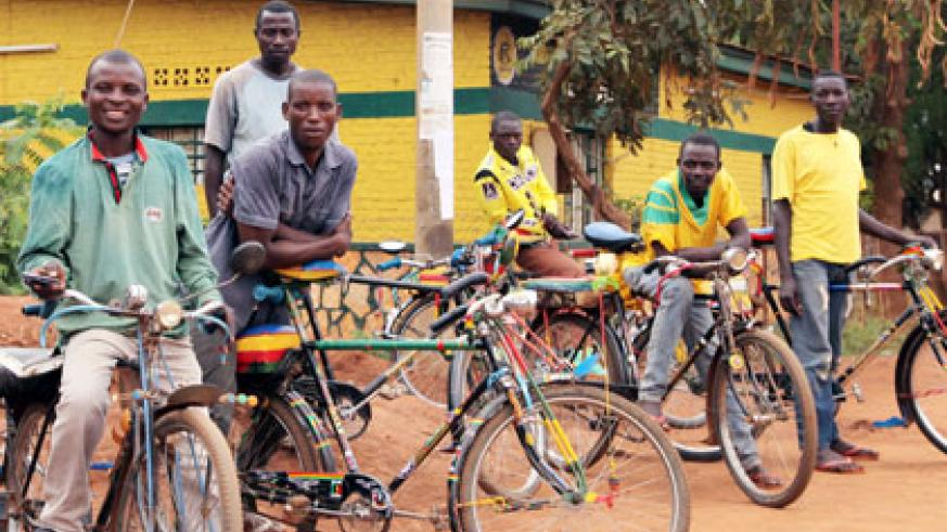Youth cyclists in Masaka Sector said with loans, they can further develop their 'jobs', which they said is better than drug abuse. John Mbanda.