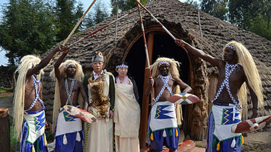 Traditional dancers welcome tourists at Iby'iwacu cultural village.   Jean d'Amour  Mbonyinshuti.