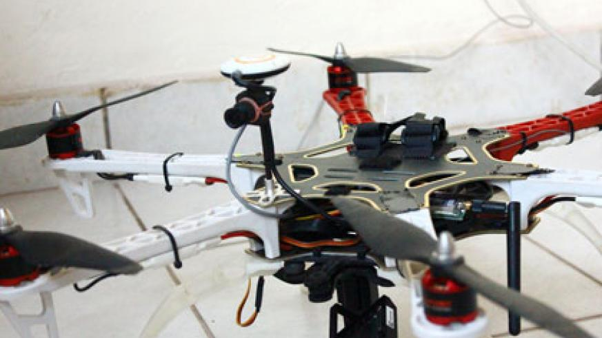 Rutayisire's model drone. Drones are being widely used in aerial photography and monitoring nowadays. (Dominique Uwase Alonga)