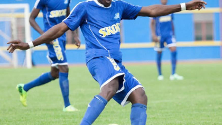 Espoir FC claim that Govin Mutombo, seen here playing for Rayon Sports in Kagame Cup, is their player with one year still left on his contract. (Timothy Kisambira)