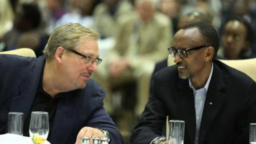 President Kagame and Pastor Rick Warren during Rwanda Leaders Fellowship Dinner. (Village Urugwiro)