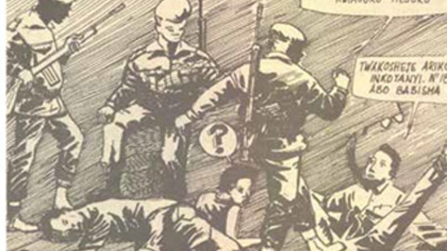 An illustration of FAR soldiers torturing suspected rebel sympathisers.  Source: Imvaho newspaper