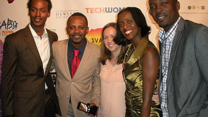 Ndahayo (2L) with colleagues after winning the Silicon Valley African Film Festival Best Documentary Feature film award for The Rwandan Night.