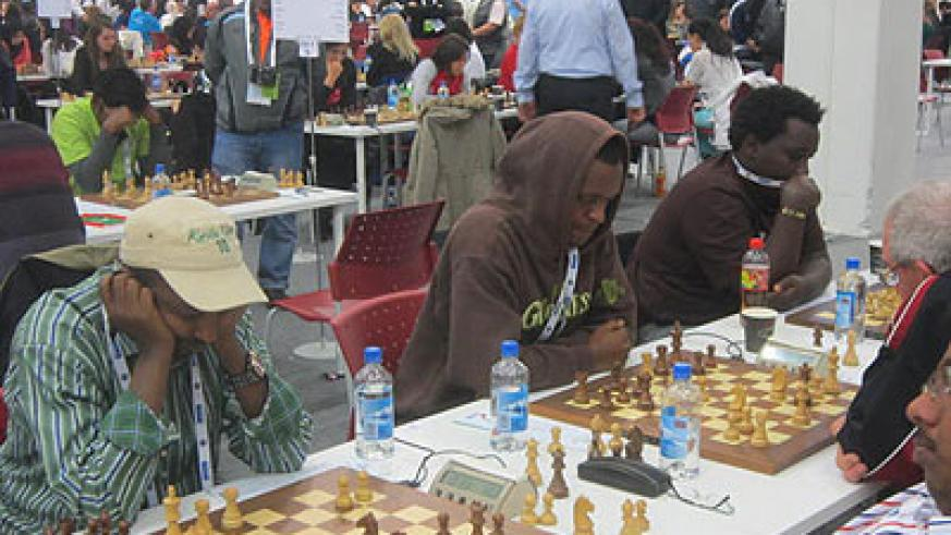 (L-R) Maxence Murara the team captain, Alain Niyibizi and Godfrey Kabera in action at the 41st Chess Olympiad in Norway. Courtesy photo