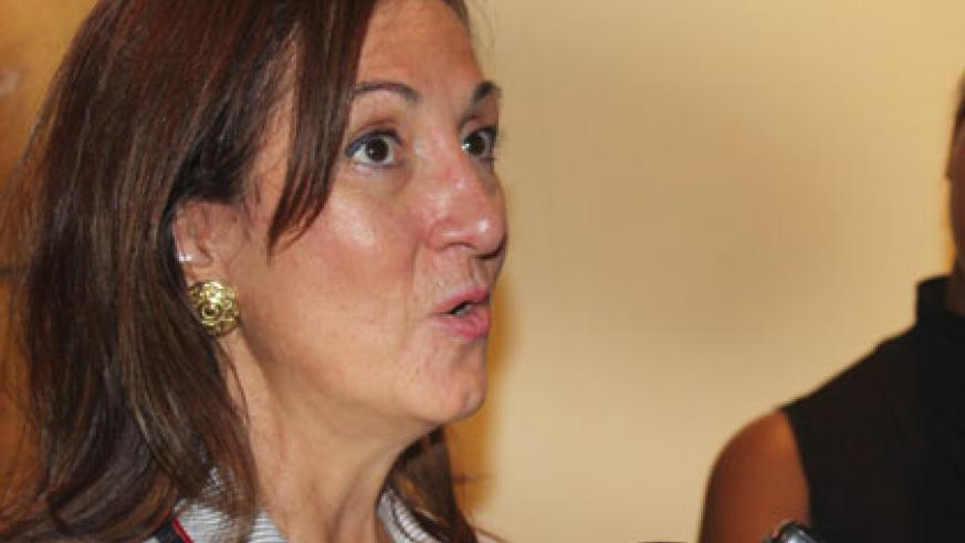 WIPO's Francesca Toso speaks to reporters after the meeting on Tuesday. (Ben Gasore)