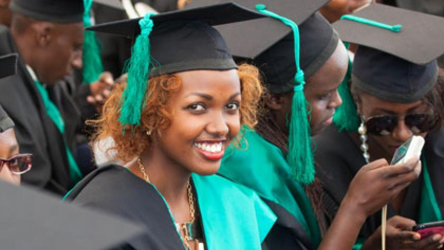 Graduates of the College of Agriculture, Animal Sciences and Veterinary Medicine (CAVM),  at the graduation ceremony  yesterday. Timothy Kisambira.