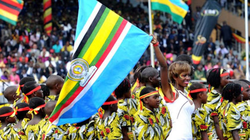 EAC troupes perform at Uganda's Independence fete in 2012. File.