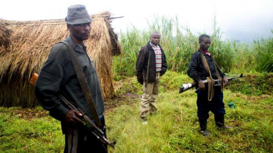 Some of the FDLR militiamen guard their base in DR Congo. (File)