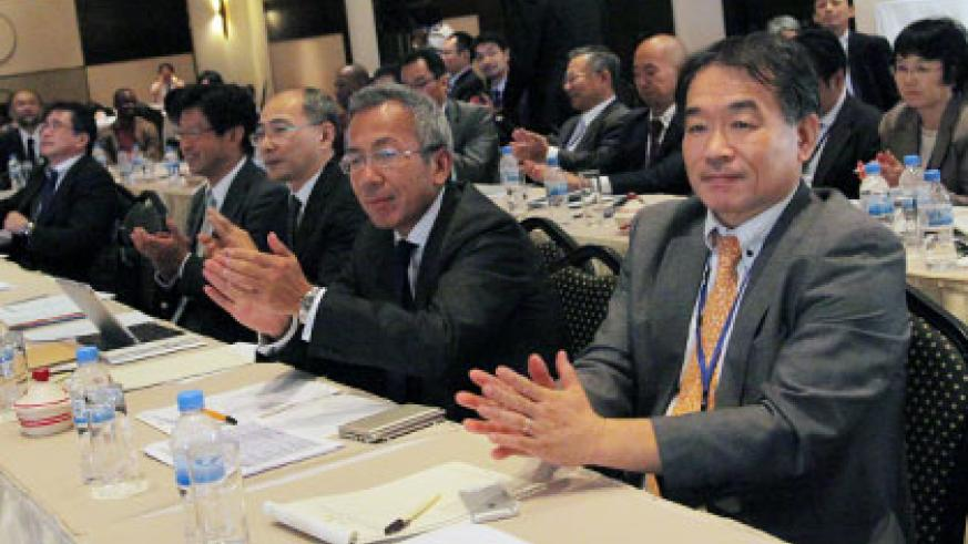 The Japanese delegation during the business seminar in Kigali on Wednesday. (John Mbanda)
