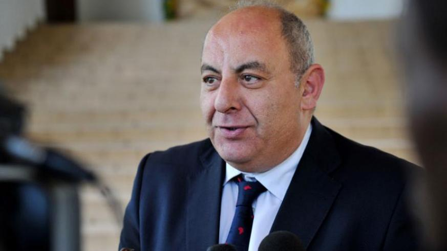 Amb. Khaled Adbel-Salam, speaks to the media after bidding farewell to President Kagame yesterday. Courtesy.