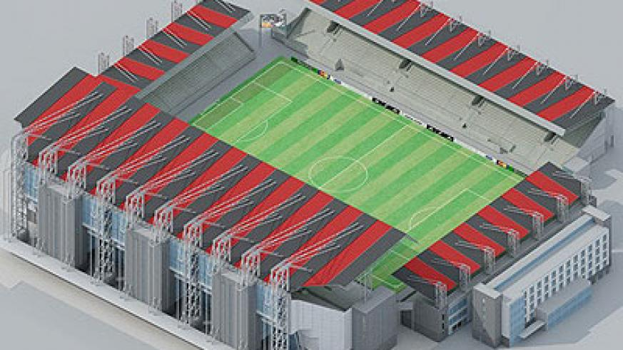 The architectural impression of Gahanga stadium. The contruction of the state-of-the-art stadium has been halted until further notice. Net photo.