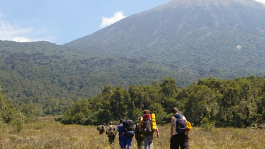 Tourists climb Karisimbi mountain which hosts Karisimbi mast. The EU's financial support is intended for projects that promote regional integration. (File)