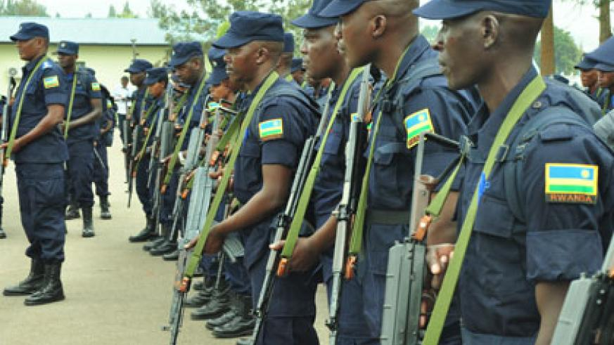 A cross section of Police peacekeepers to be deployed in CAR during de-briefing at Police headquarters in Kacyiru yesterday. Courtesy.