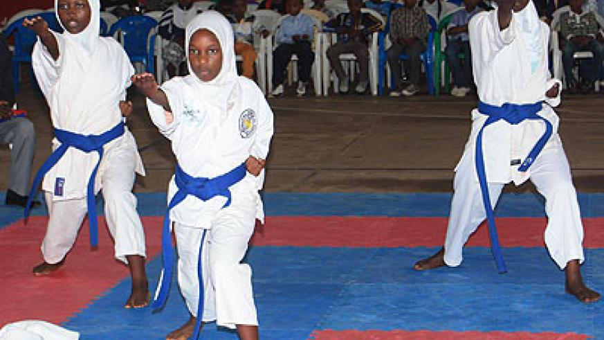 FOR THE FUTURE; Rubavu-based Zen-Karate-Do girls' team during yesterday's competition. (R. Bishumba)