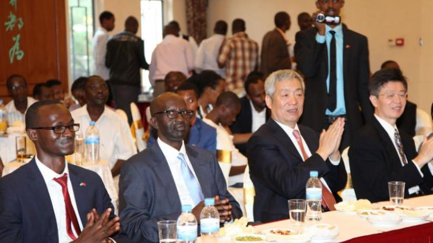 Amb. Shen Yongxiang (2nd right) during the cocktail at the Embassy Hall in Kigali on Thursday. (Courtesy)