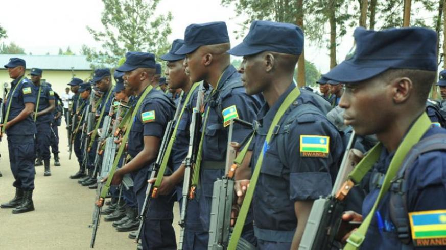 A cross section of Police peacekeepers to be deployed in CAR during de-briefing at Police headquarters in Kacyiru yesterday. (Courtesy)
