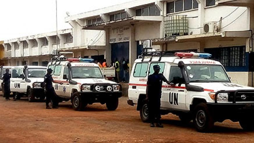 Ambulances manned by the Rwandan Police Contingent in CAR. They arrived in the country yesterday. (Courtesy)