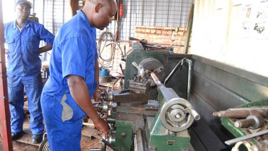 Mbonabirama works in the Reba Kure workshop. The Sacco got its footing after securing a loan from 'Hanga Umurimo' programme. (Jean Mbonyinshuti)