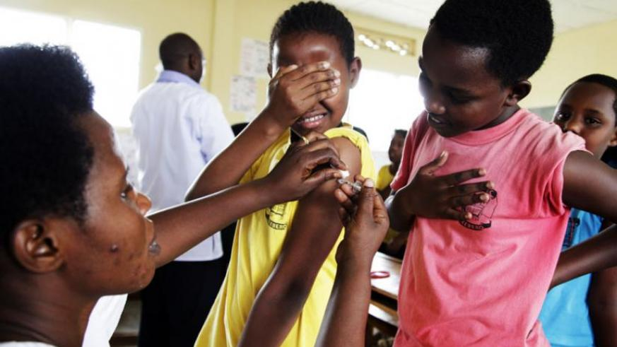 Young girls being immunised against cervical cancer in 2012. (File)
