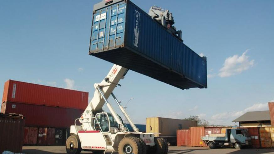 A crane unloads a container of imported goods at Magerwa in Gikondo. (File)