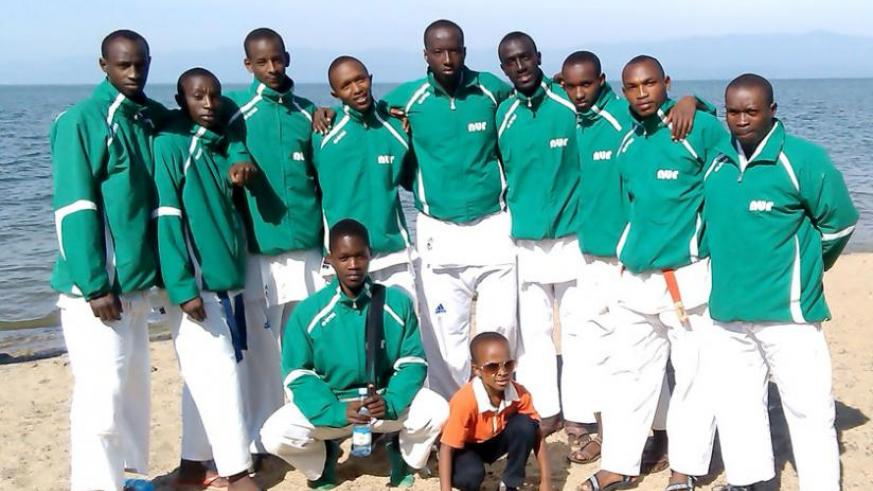 UR-huye campus team after winning the Karate tournament in Rubavu at the week-end. (Courtesy photo)