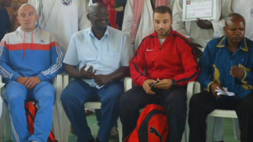 (L-R) National team coach Ruslan Adamov, Ferwaka vice-president Barnabe Karamaga and Abdel-Raouf [in red and black] officiated at the friendly competition held in Rubavu town last weekend. (File)