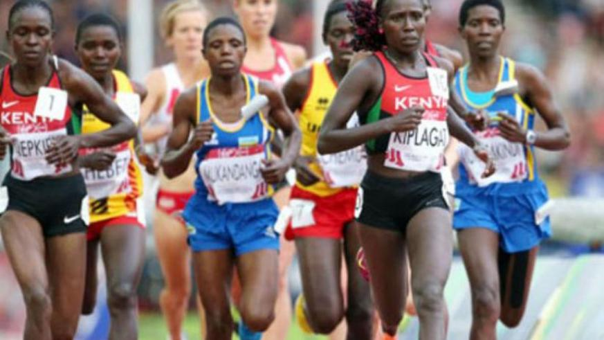 Clementine Mukandanga (C) taking part in a recent race in Europe. (File)