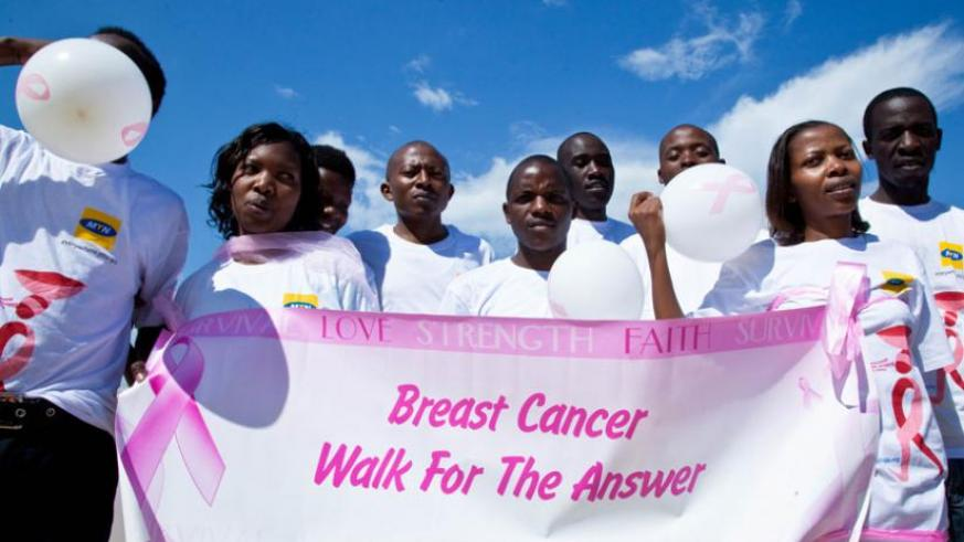 A march against breast cancer in Kigali last year. (File)