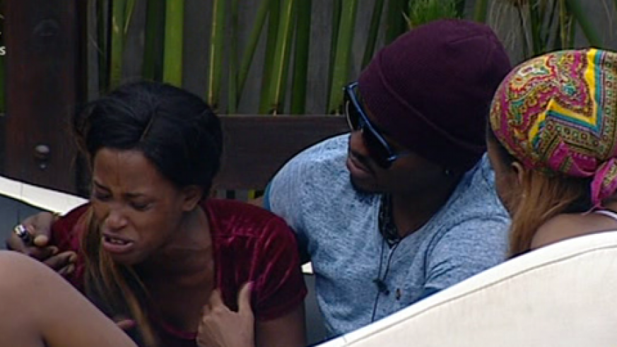 Esther ( L)  gets emotional in the Big Brother House (Internet photo)