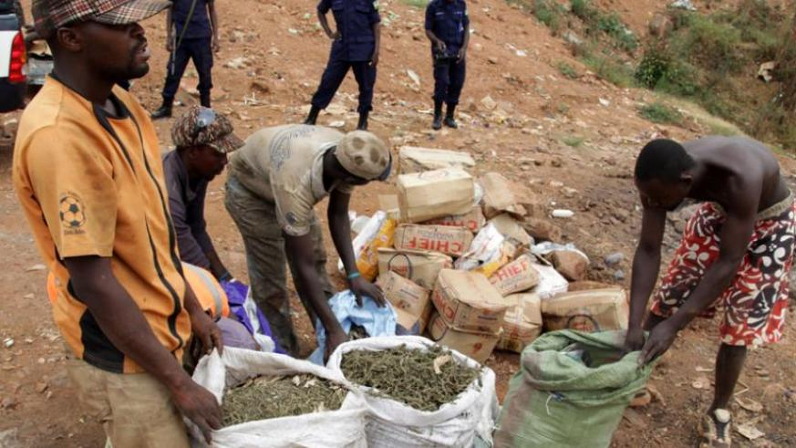 Policemen witness as illicit drugs which had been intercepted in Kicukiro are destroyed at Nduba dumping site last June. (John Mbanda)
